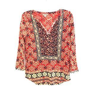 Lucky Brand 3/4 sleeve tunic top t-shirt knit